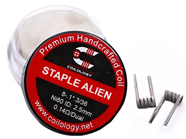 Coilology predmotané špirálky Staple Alien Ni80 0,14ohm + cotton - 2ks